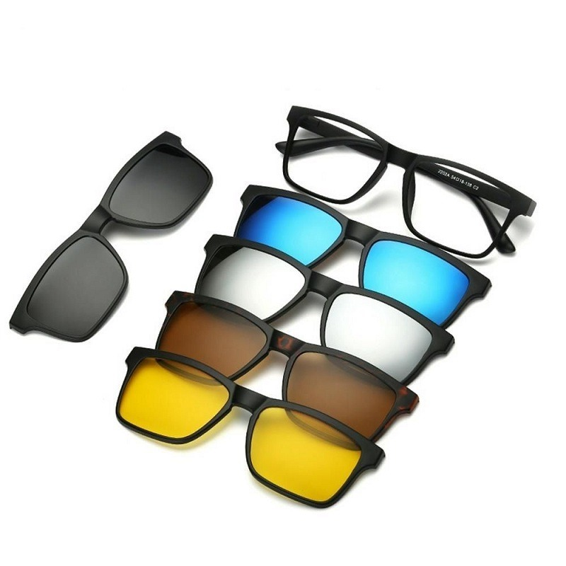7116fbf3d Armação Óculos Grau 6 Em 1 + Clip On Sol E Noite Polarizado - R$ 139 ...
