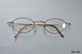 e5f26ee80 Armação Oculos Grau Aço Inox Oval Pequeno Dourado Benetton