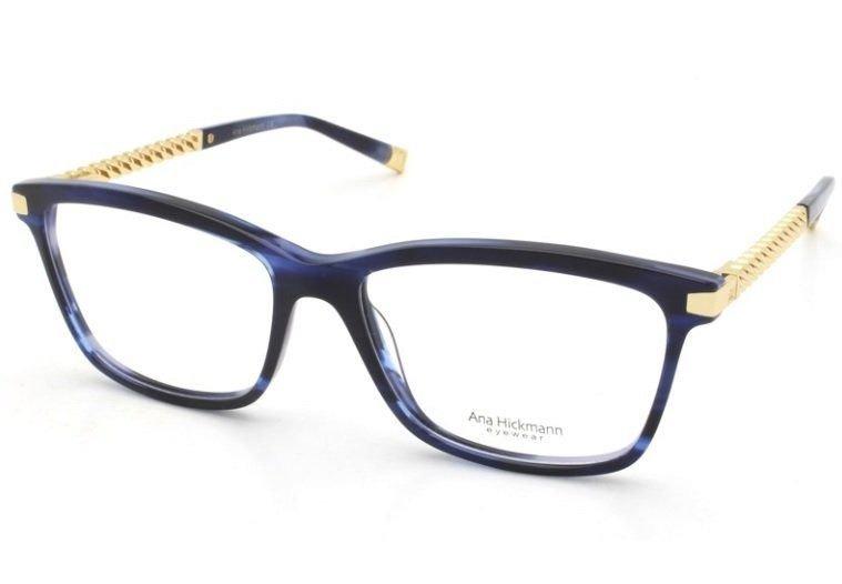 5ba571d97 Armação Oculos Grau Ana Hickmann Ah6319 E02 Azul Dourado - R$ 369,00 ...