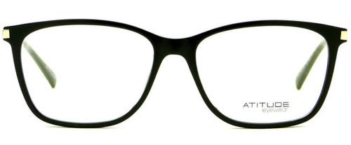 a43f9f47b Armação Oculos Grau Atitude At4038s A01 Preto Brilho Dourado - R ...