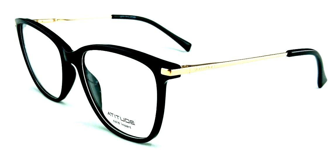 aea8049a8 armação oculos grau atitude at4113 a01 preto dourado brilho. Carregando  zoom.