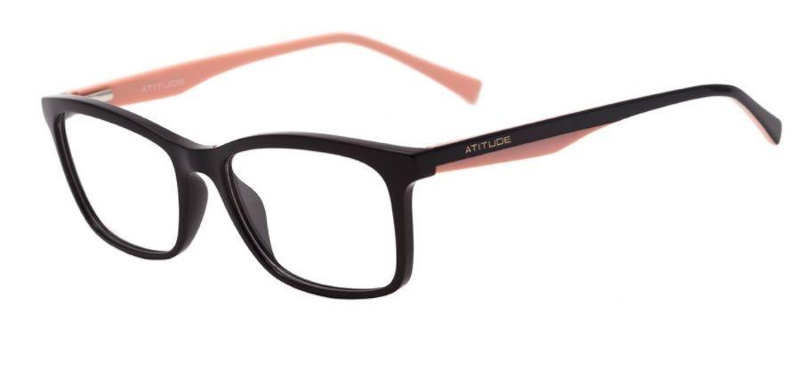 armação oculos grau atitude at4124 a01 preto brilgo rosa. Carregando zoom. 68188b8150