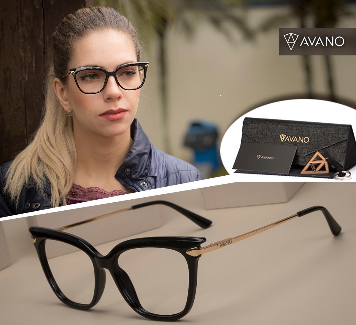 b9d8eb1d7 Armação Oculos Grau Avano Av 238-c Feminino C/ Case Flanela - R$ 59 ...