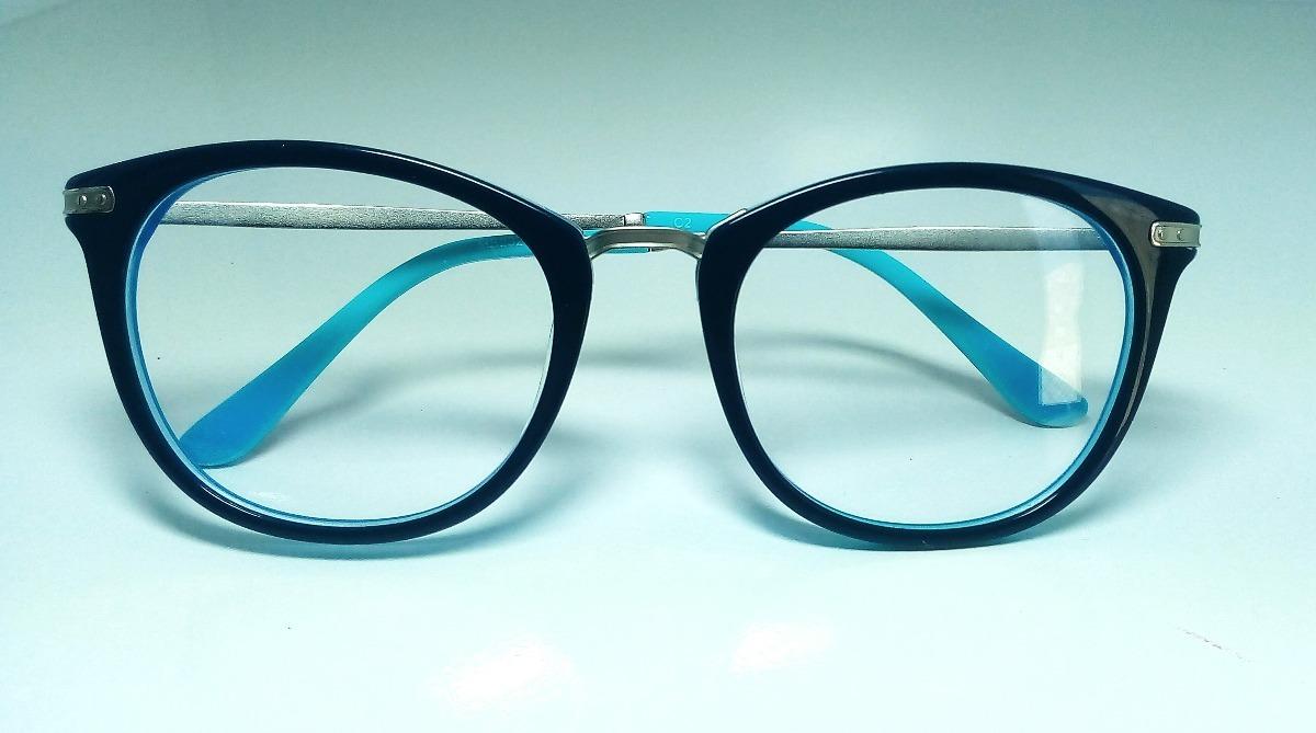 637010947e436 armação óculos grau azul acetato retro policial feminina. Carregando zoom.