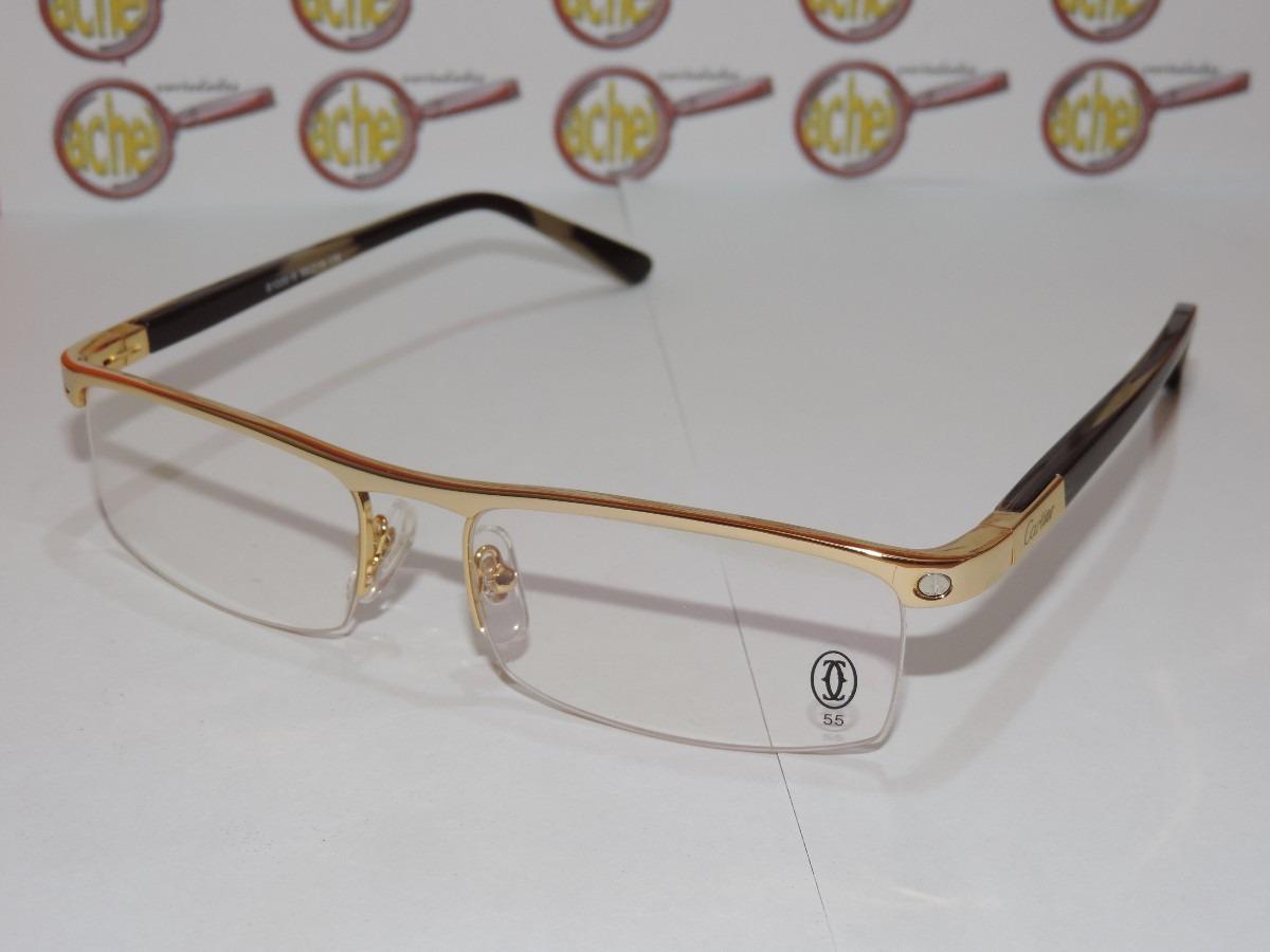 armação oculos grau cartier dourada meio aro acetato 8100816. Carregando  zoom. 3639fc25ce