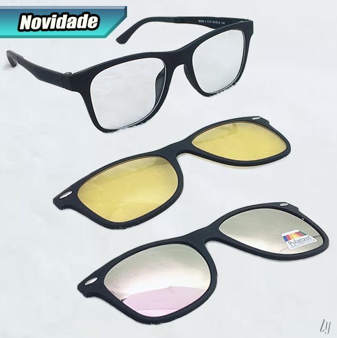 ac965965ae23c Armação Óculos Grau Clip On 3 Em 1 Lente Noturna S001 - R  95,00 em ...