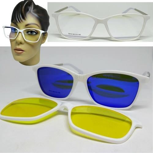 Armação Oculos Grau Clip On 3em1 Polarizado Acetato Feminino - R ... 403be36b88
