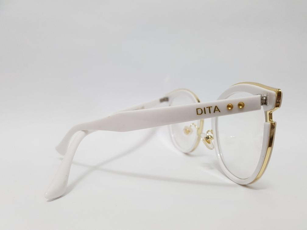 bc36405ca Armação Oculos Grau Dita Branco C/ Dourado - R$ 129,00 em Mercado Livre
