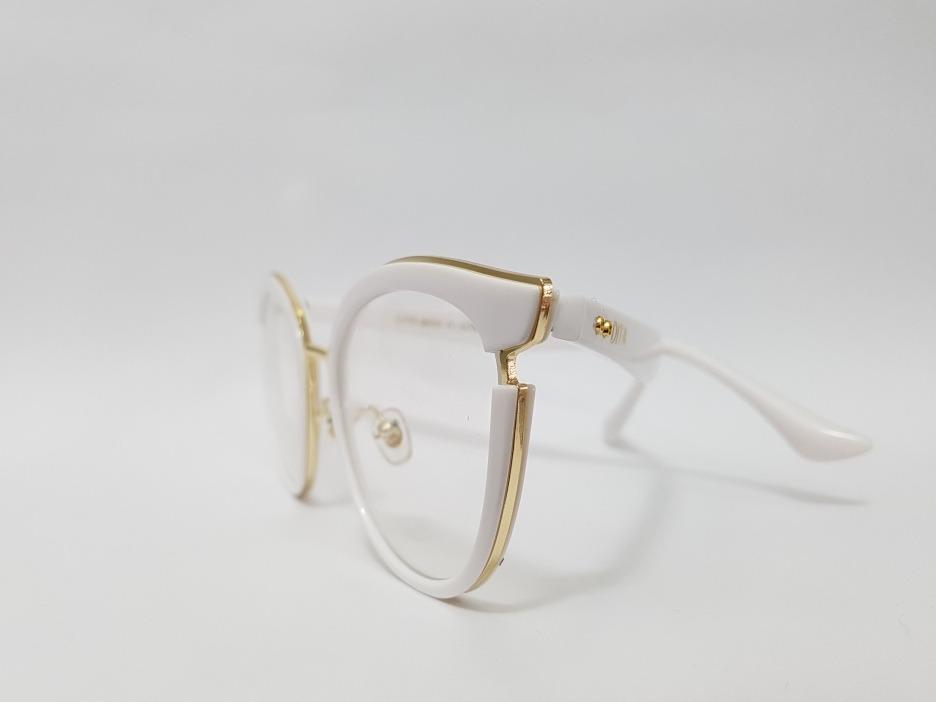 35df4e81c Armação Oculos Grau Dita Gatinho Branco E Dourada - R$ 129,00 em ...