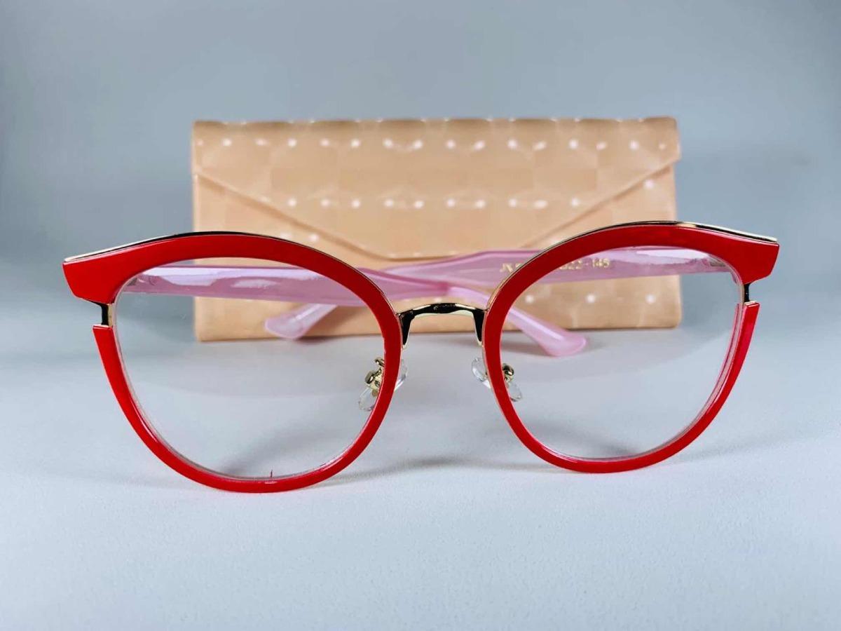 335472483 Armação Oculos Grau Estilo Gatinho Vermelho C/ Dourado!!! - R$ 129 ...