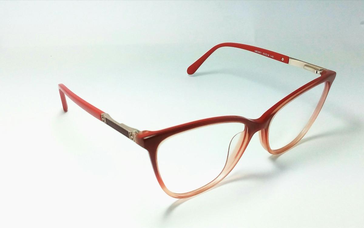 Armação Óculos Grau Feminina Acetato Modelo Gatinho - R  44,00 em ... 4b14ff14e3