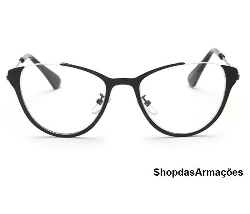 c859fbed4 armação óculos grau feminina retro olho gato oferta com case. Carregando  zoom.