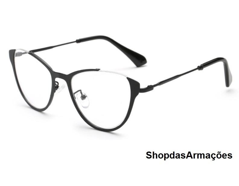 488f2d03e Armação Óculos Grau Feminina Retro Olho Gato Oferta Com Case - R$ 55 ...