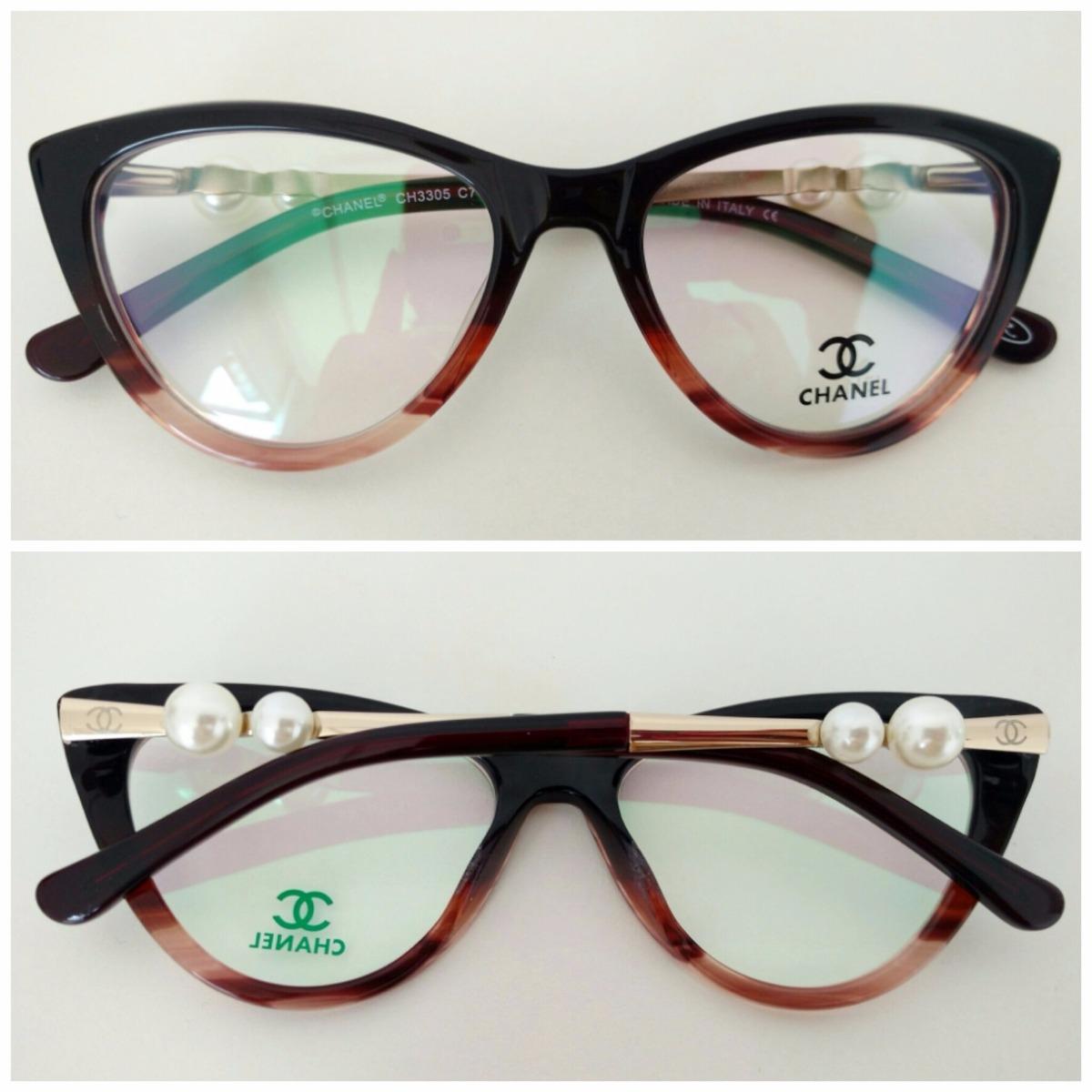 21fa4b87e1ebe armação óculos grau feminino acetato gatinho pérola ch3305. Carregando zoom.