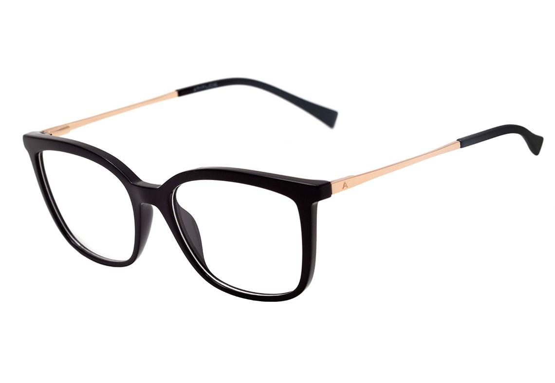 41414c7d2a4ed armação óculos grau feminino - atitude at4111 preto dourado. Carregando  zoom.