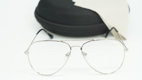 Armação Óculos Grau Feminino Aviador Metal 3025 3026 Prata - R  39 ... 57f042b8b3