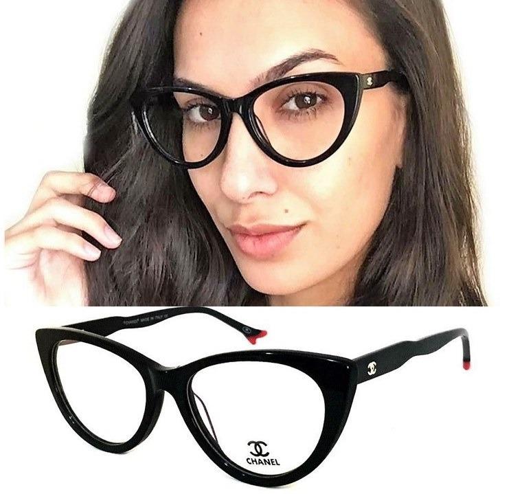 ea1f030cc Armação Oculos Grau Feminino Gatinho Ch80510 Black Original - R$ 127 ...