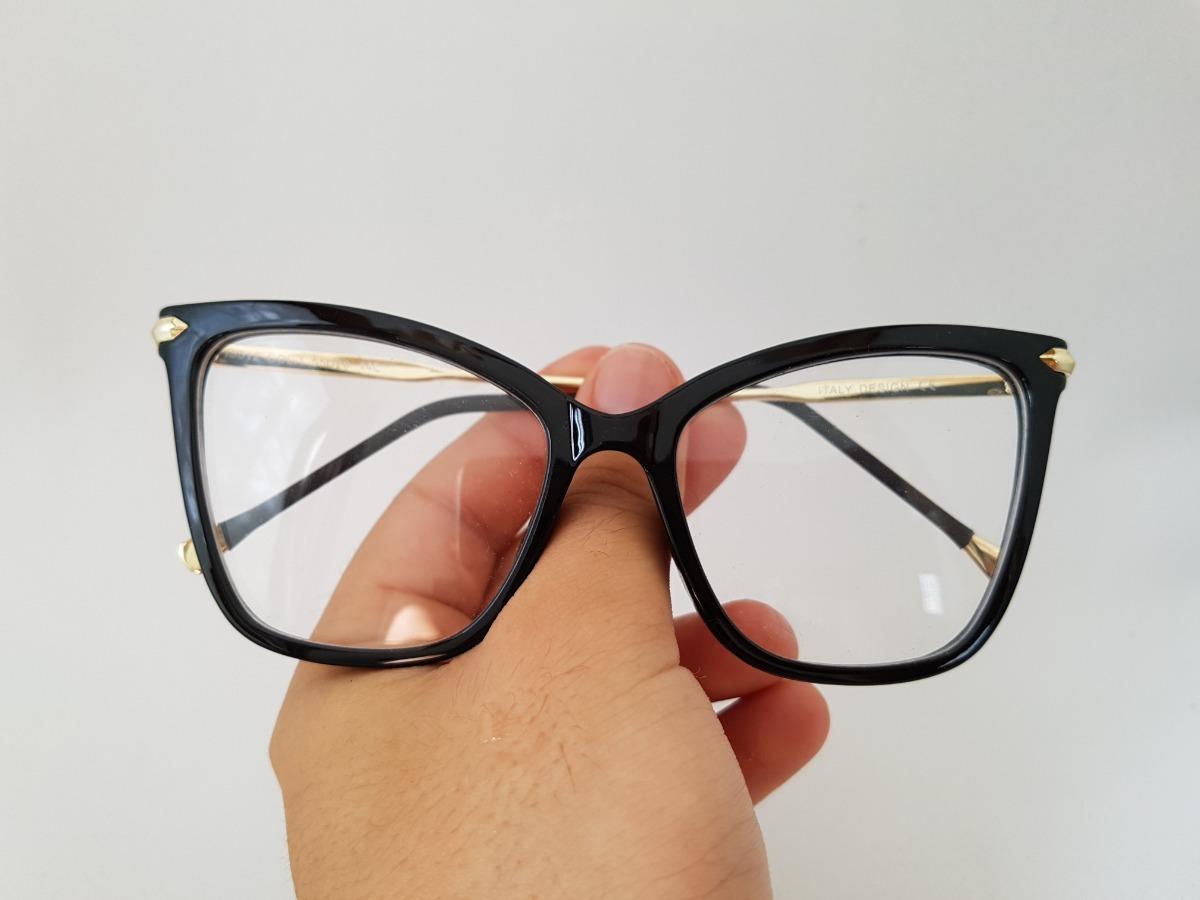 8703fd4c2 Armação Oculos Grau Feminino Gatinho Preto - R$ 129,00 em Mercado Livre