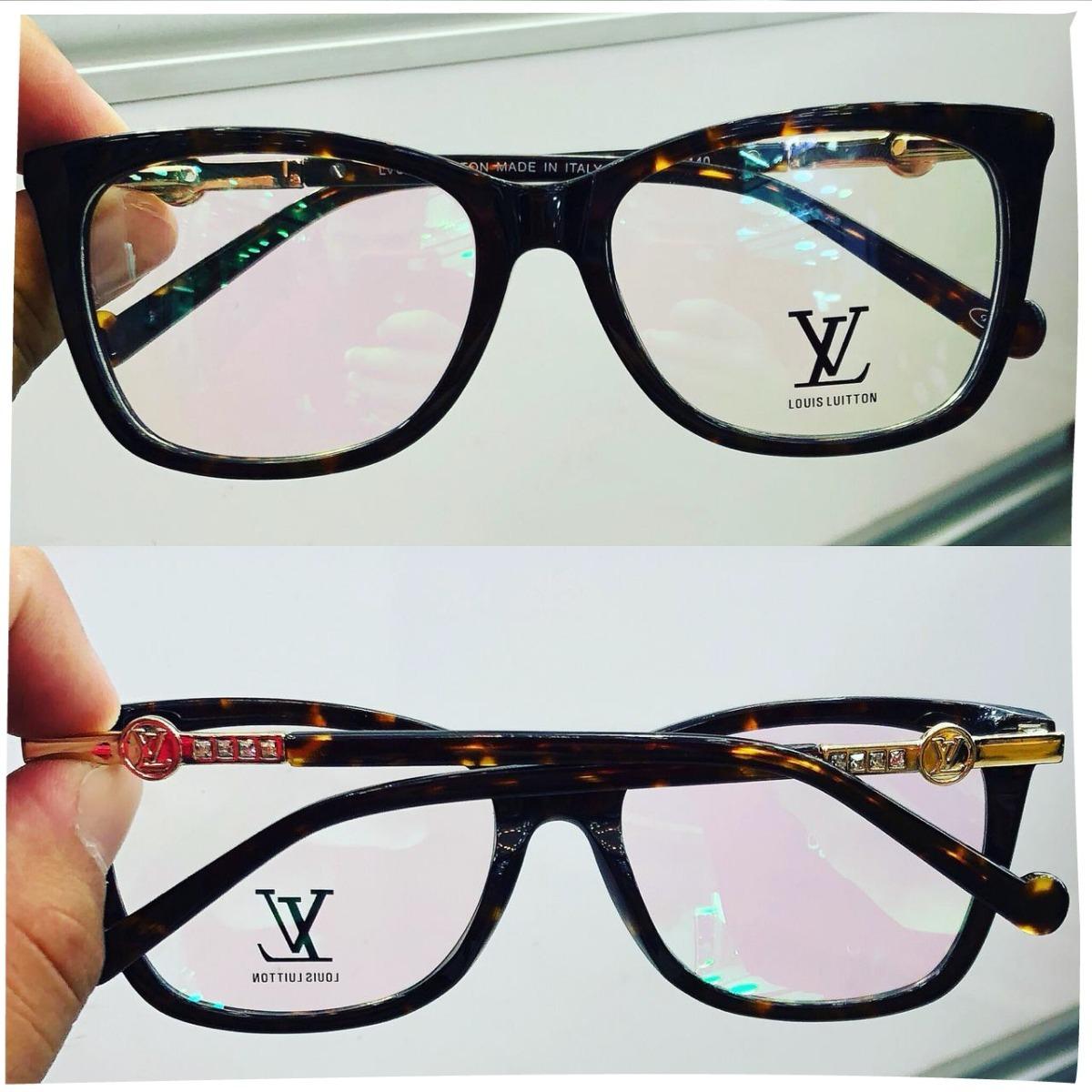 armação oculos grau feminino importado lv15 acetato original. Carregando  zoom. 9dd6e4e670