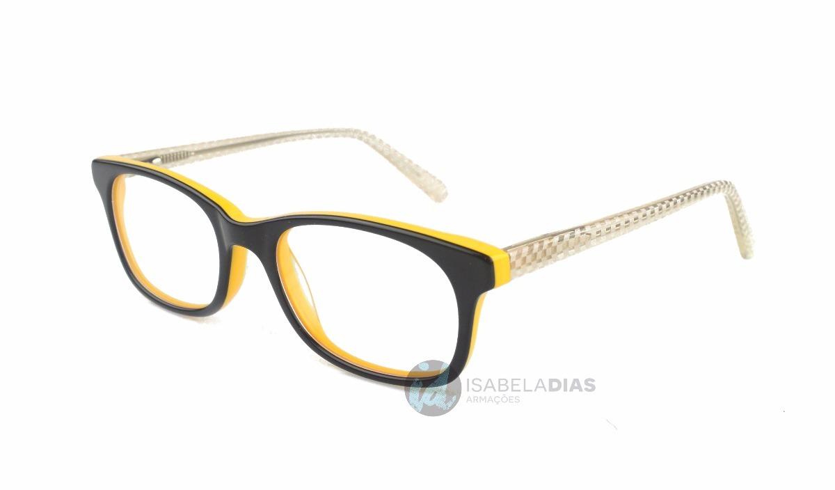 e75d44225 armação oculos grau feminino infantil acetato amarelo 6001. Carregando zoom.