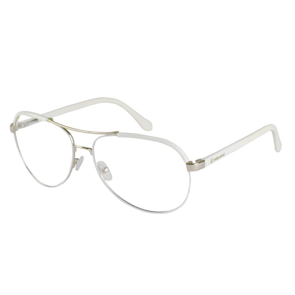 1f2e3272c14af armação óculos grau feminino metal aviador branco 14-1105. Carregando zoom.