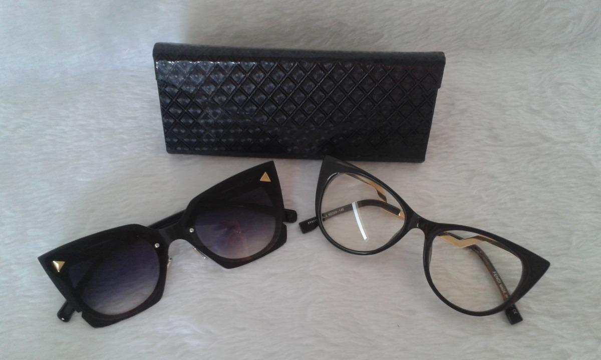 9b32cc9efa67f Armação Óculos Grau Feminino + Óculos De Sol - R  75,00 em Mercado Livre