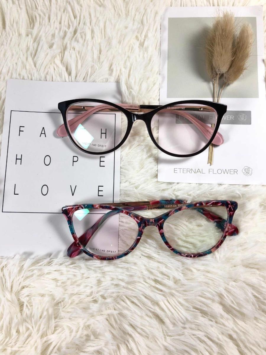 91f9553a0 armação oculos grau feminino original acetato metal aledf617. Carregando  zoom.