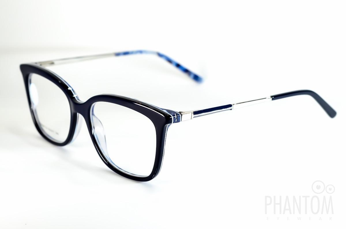 armação óculos grau feminino preto com azul medio quadrado. Carregando zoom. 7a1f41249d