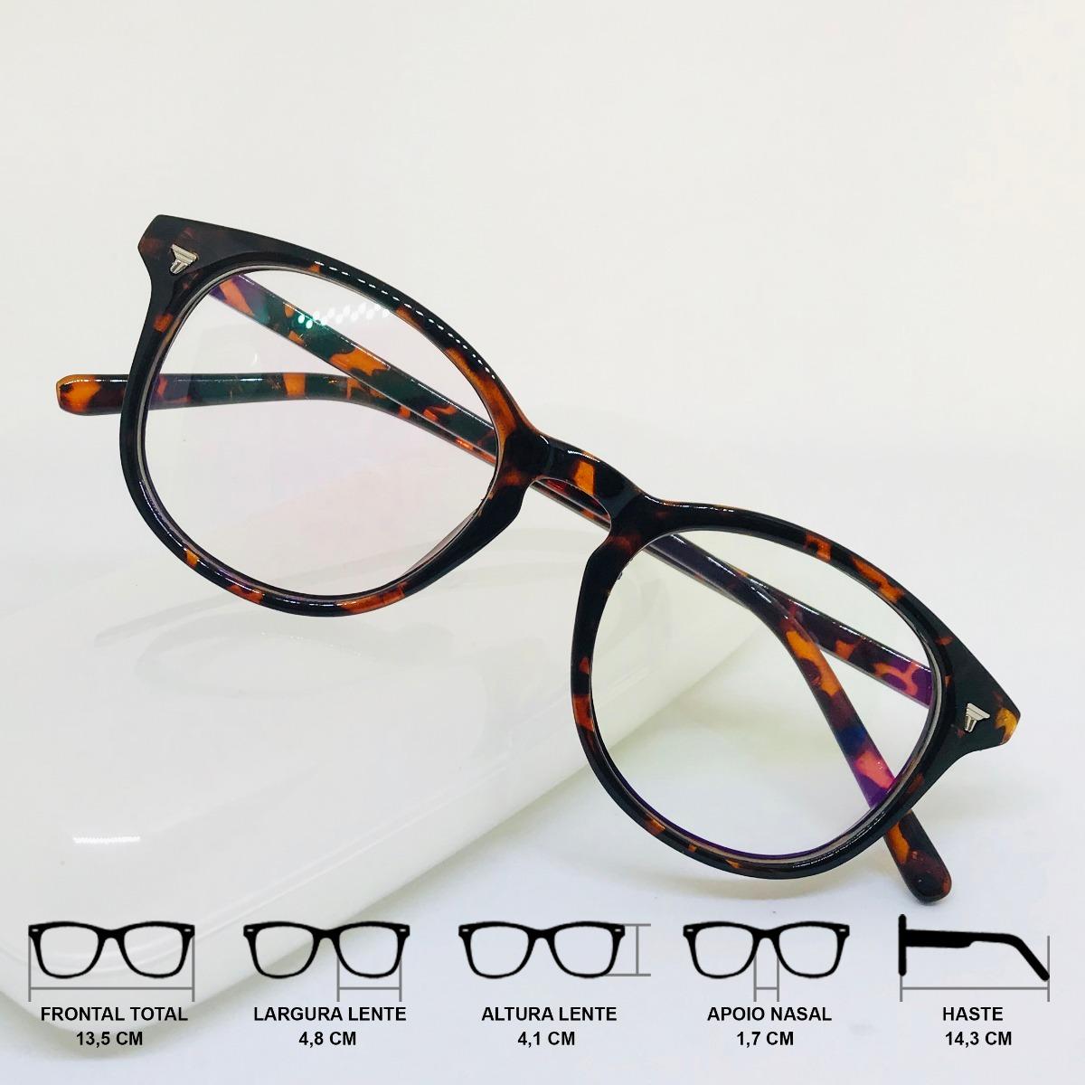 599e96597820a Armação Óculos Grau Feminino Preto Redondo Vintage Nerd Top - R  49 ...