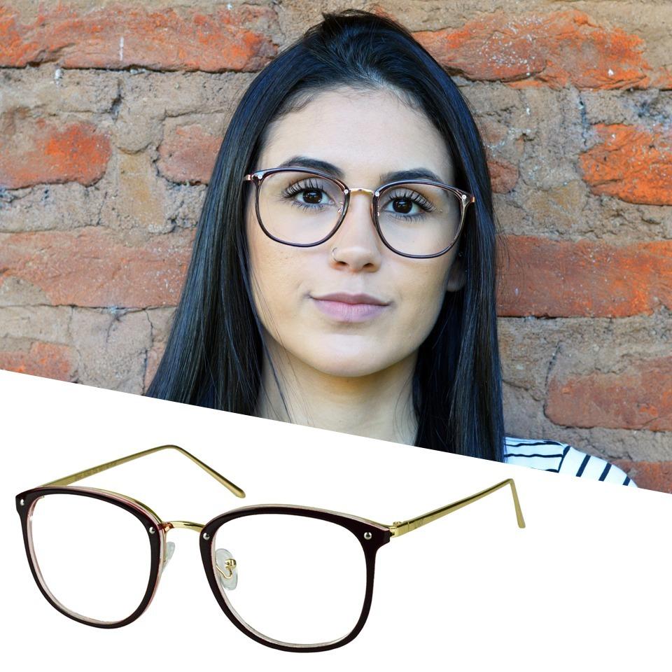 a23b2ff9e armação óculos grau feminino quadrado redondo retro acetato. Carregando zoom .