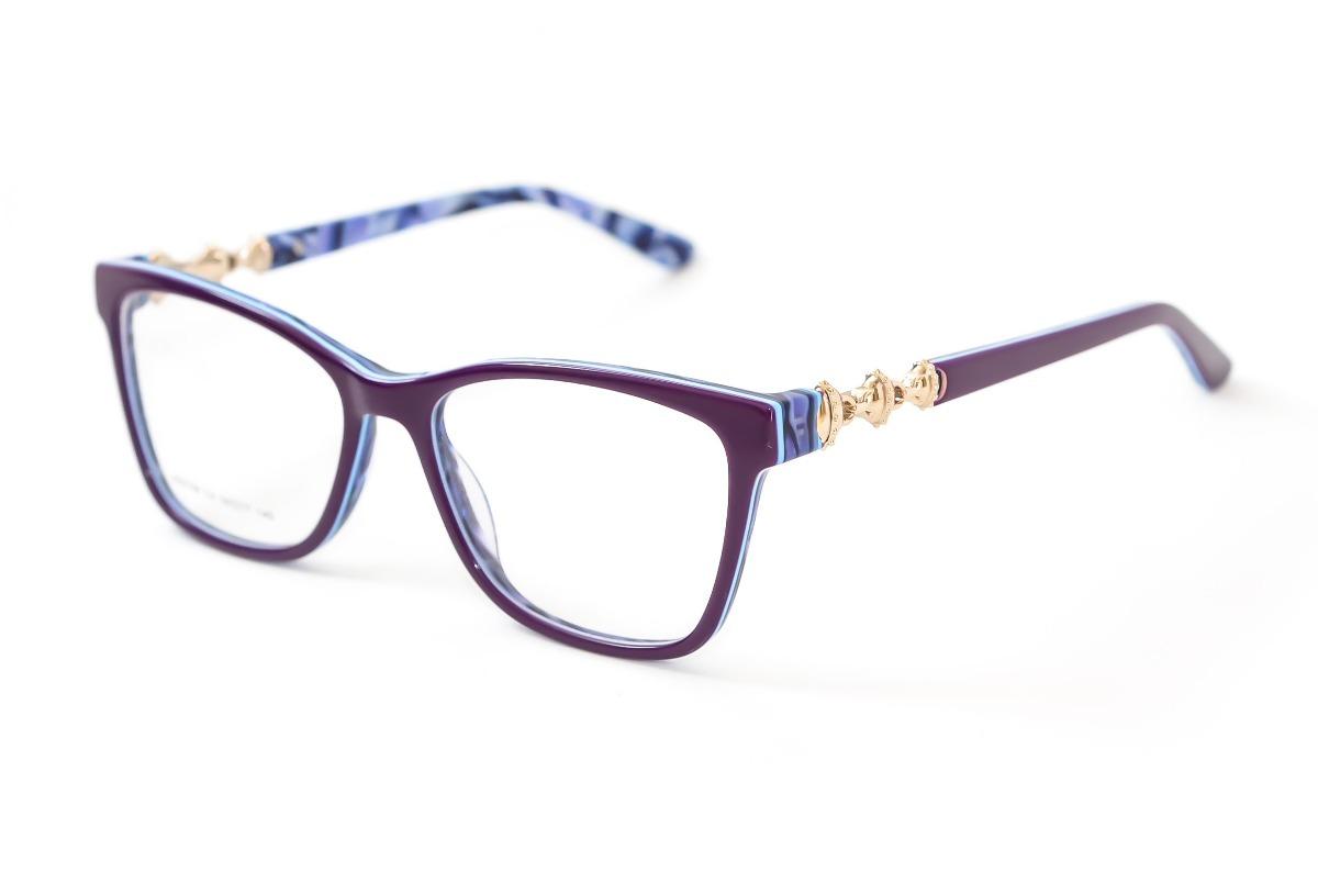 bd4f6a84f7dad armação óculos grau feminino quadrado roxo acetato jc6158. Carregando zoom.