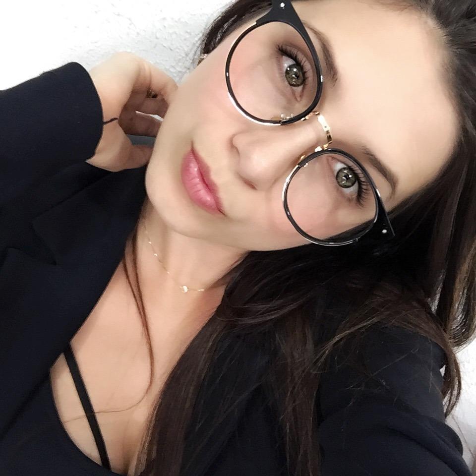 58d403416d398 armação óculos grau feminino redondo leve preto estojo f0117. Carregando  zoom.