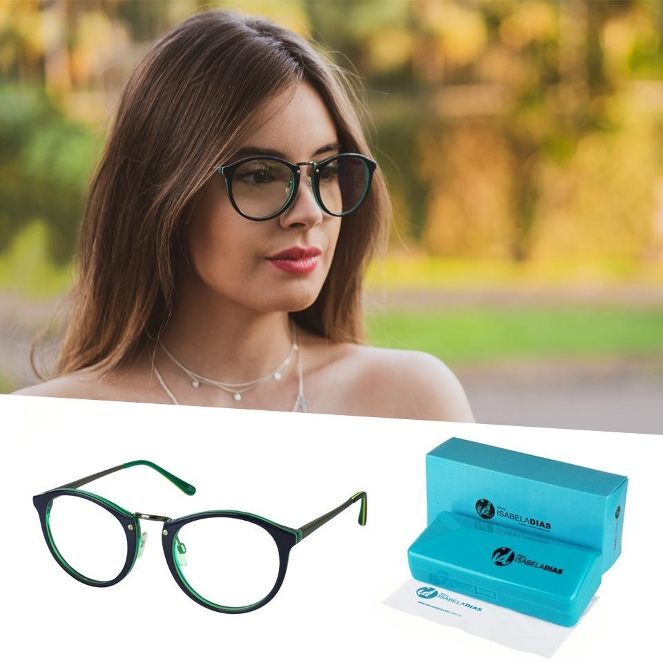 d56ba14eb814c armação óculos grau feminino redondo retrô 638 isabela dias. Carregando zoom .