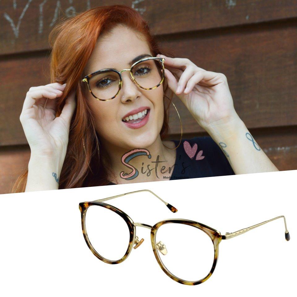 armação óculos grau feminino retrô redondo original onça 975. Carregando  zoom. 1f3d11c13d