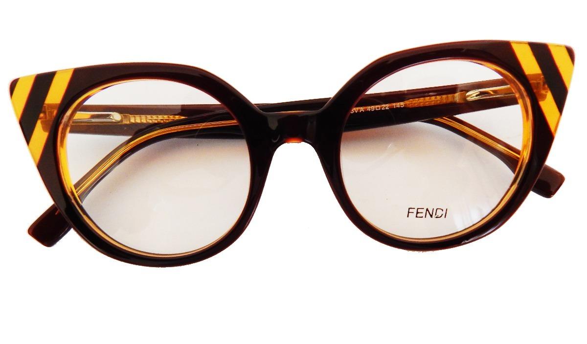 armação óculos grau fendi ff0246 feminino gatinho marrom. Carregando zoom. 90349d3679