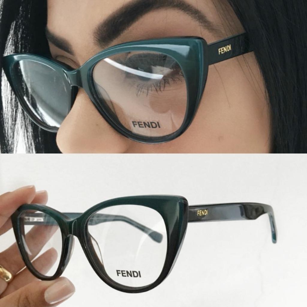 53a0b64f747ea Armação Óculos Grau Fendi Gatinho + Brinde! - R  119,90 em Mercado Livre