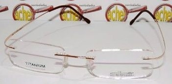 f1507a3a0c2b0 Armação Oculos Grau Flexivel Silhouette Titanium S Aro Gold - R  79 ...