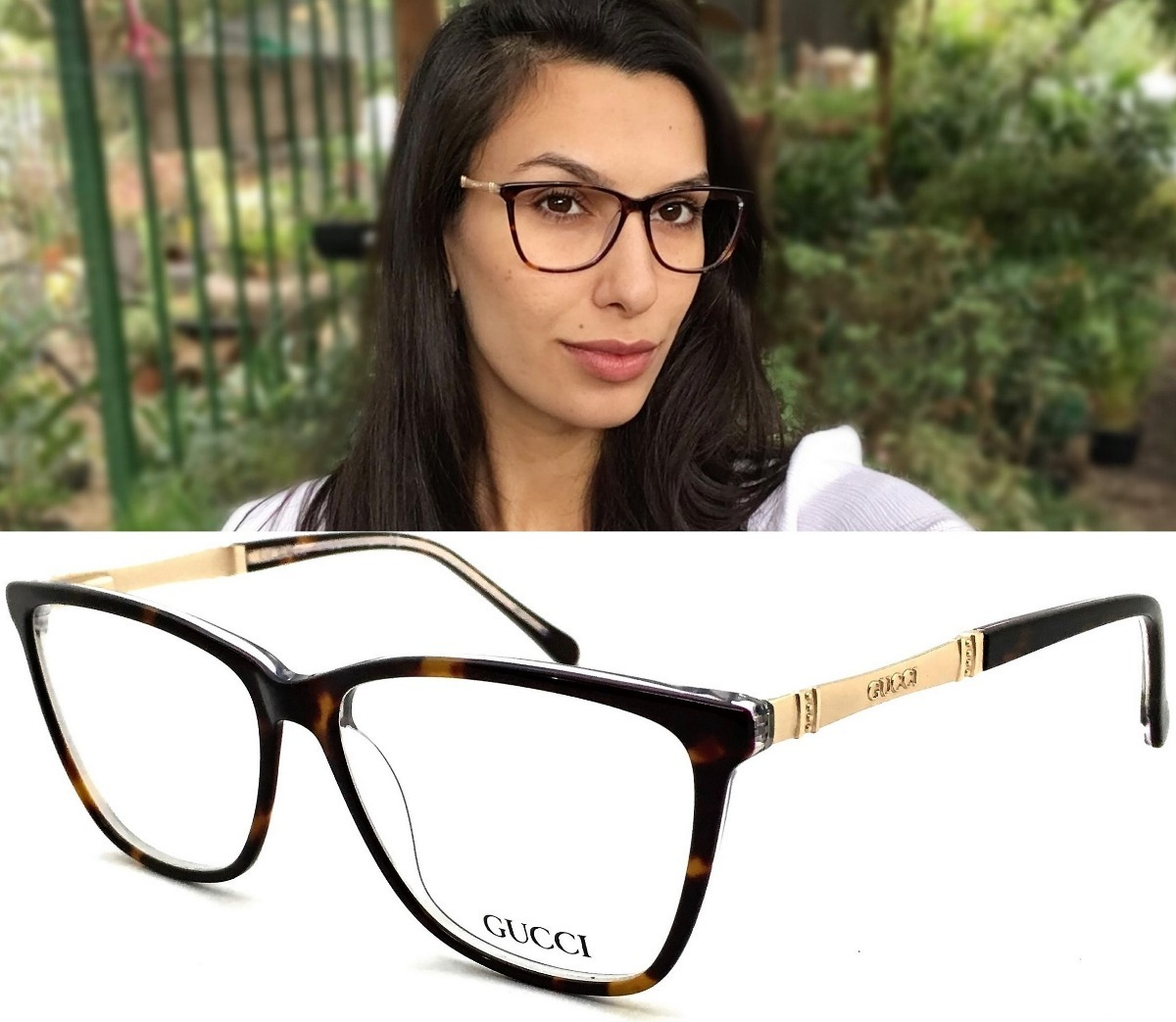 bda5f43b45ad6 ... 53f4ee86630 armação oculos grau gatinho gucci gg1039 original feminino.  Carregando zoom. ...