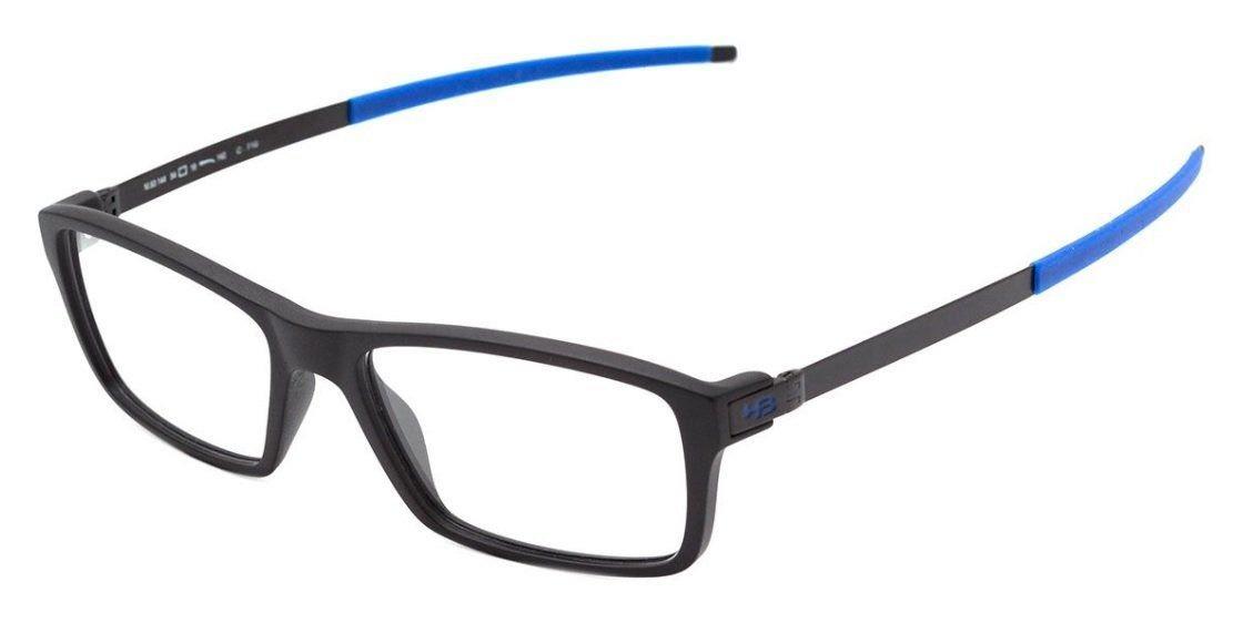 58ac3d6f1 Armação Oculos Grau Hb 93144 71033 Preto Fosco Azul - R$ 329,00 em ...