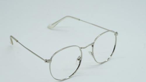 72b9e76ed4753 Armação Óculos Grau Masculina Cinz Redonda Round Metal Prata - R  35 ...
