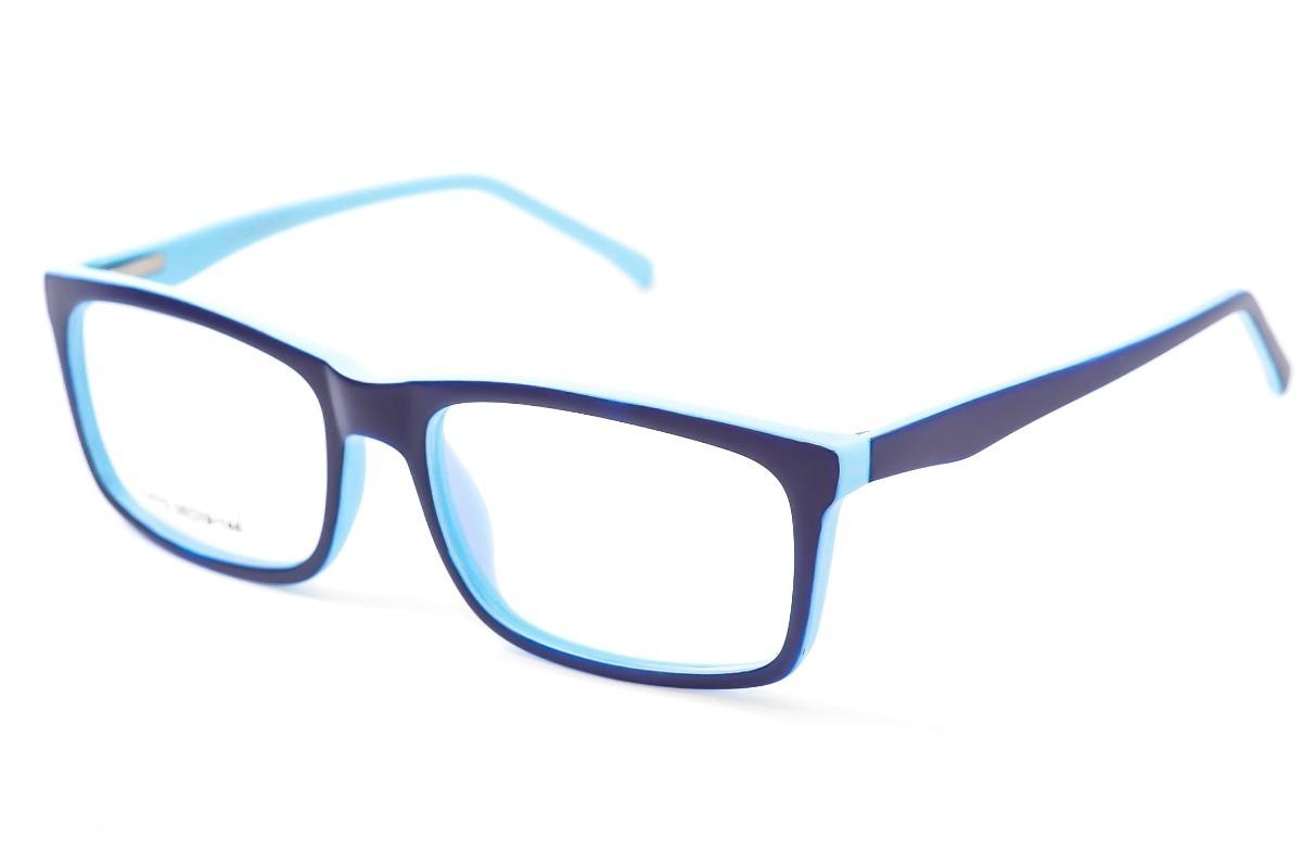 c0f77ccf9 armação óculos grau masculino azul escuro quadrado sj075. Carregando zoom.