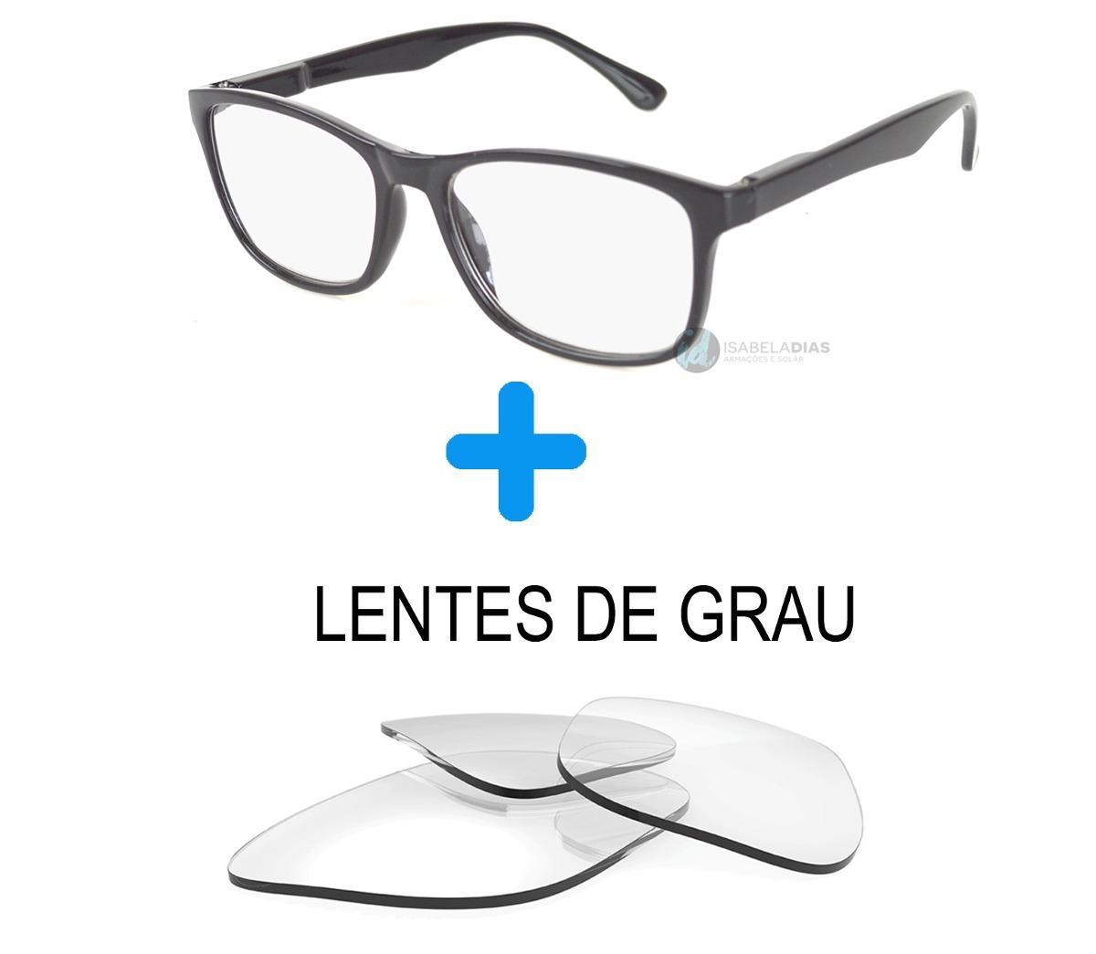 af20e066f1687 Armação Óculos Grau Masculino Feminino Com Lentes De Grau - R  84,99 ...