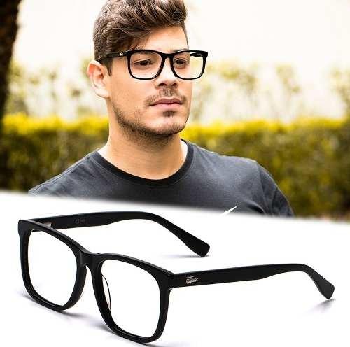 c2b49c86e Armação Óculos Grau Masculino Grande La23 Quadrado Acetato - R$ 120 ...