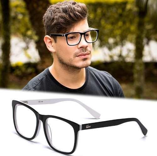 d77cde8ac56c4 Armação Óculos Grau Masculino Grande La24 Quadrado Acetato - R  120 ...