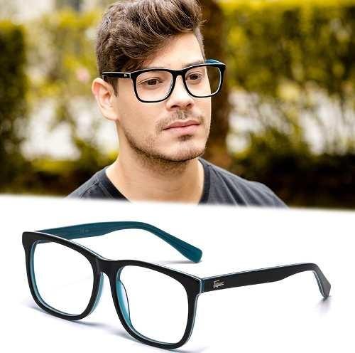 armação óculos grau masculino grande la26 quadrado acetato cf426545f9