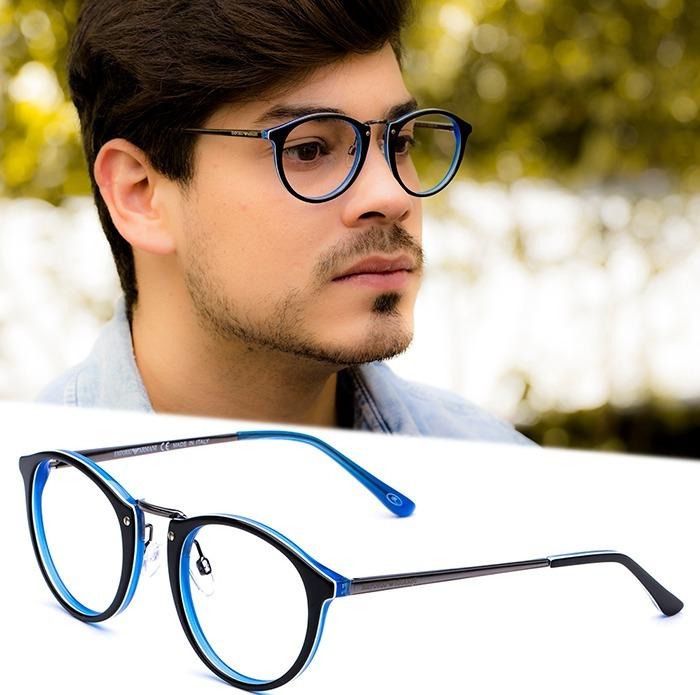 00500fcf6 Armação Oculos Grau Masculino Importado Ea35 Acetato Redondo - R ...