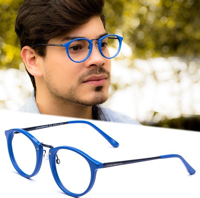 armação oculos grau masculino importado ea36 acetato redondo b845561a67