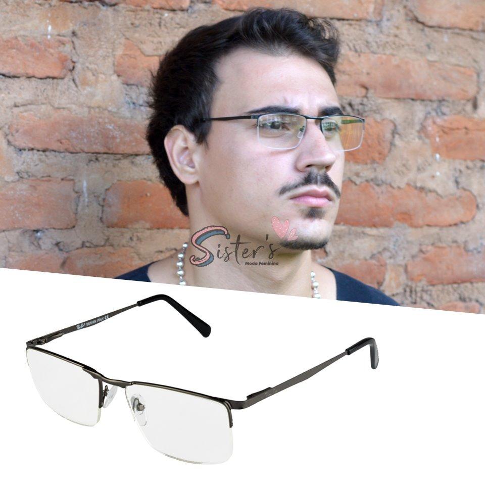 6264a9ece42ad armação óculos grau masculino metal sem aro feminino rb1681. Carregando zoom .