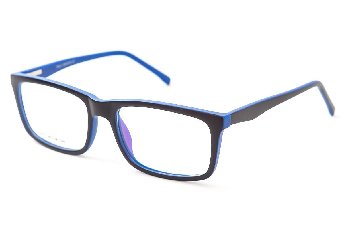 ac18a9a31 armação óculos grau masculino preto azul quadrado sj075. Carregando zoom.