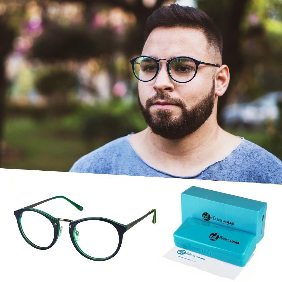 armação óculos grau masculino redondo retrô isabela dias 638. Carregando  zoom. 9da32ffd41